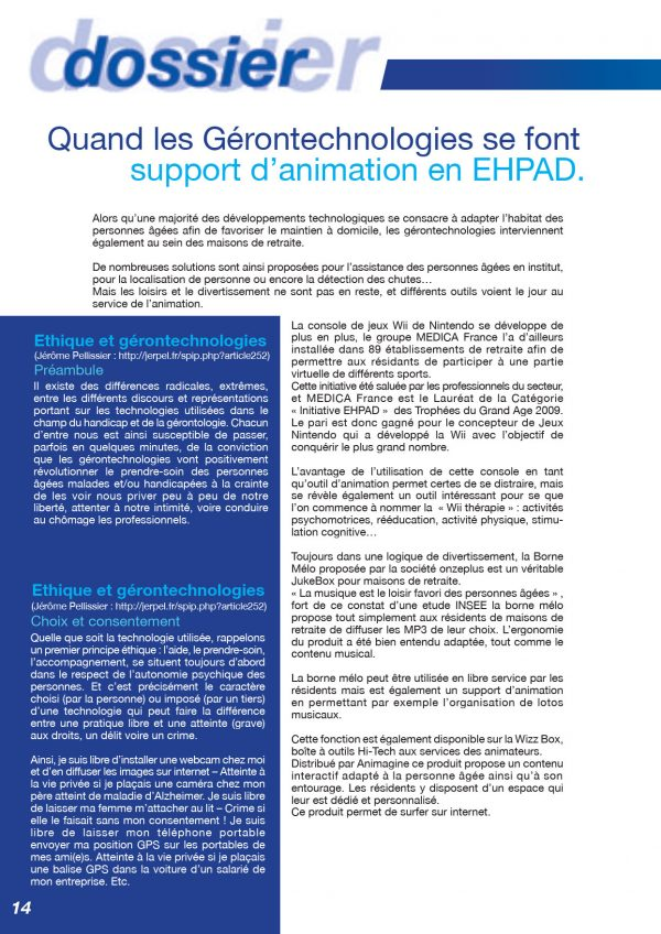 Quand Les Gerontechnologies Se Font Support D Animation En Ehpad
